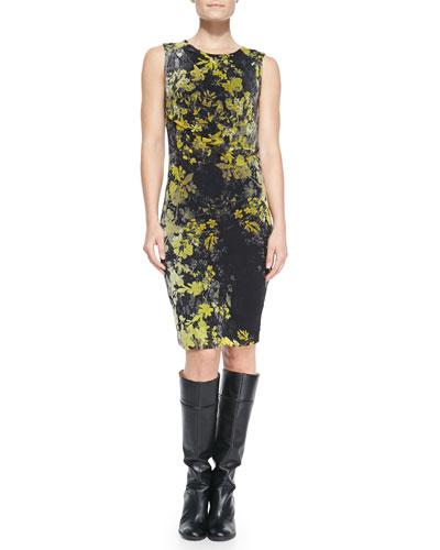 Fuzzi Sleeveless Floral Sheath Dress
