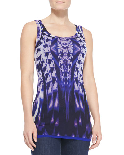 Fuzzi Ikat-Print Tulle Tank Top, Purple