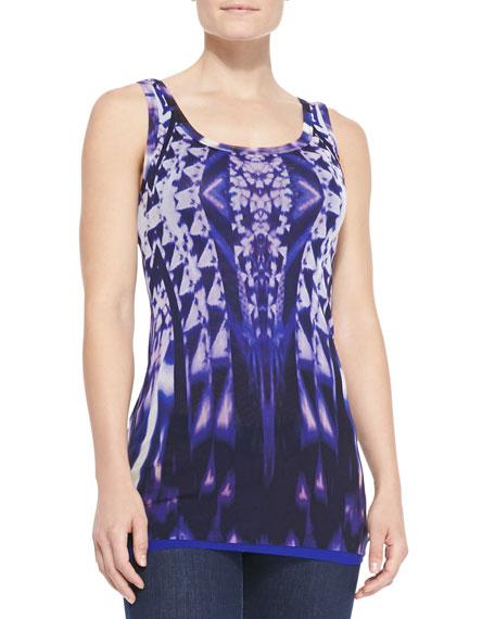Ikat-Print Tulle Tank Top, Purple