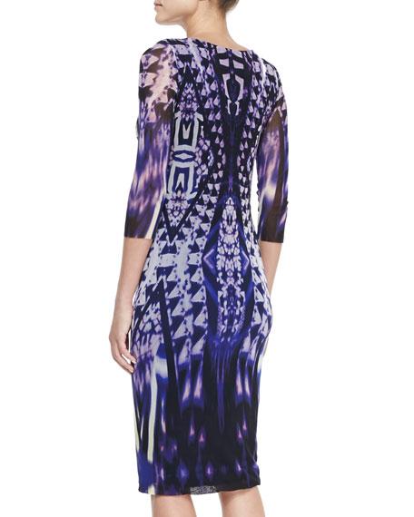 3/4-Sleeve Ikat-Print Midi Sheath Dress