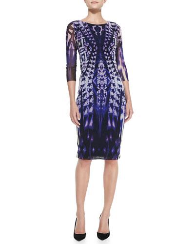 Fuzzi 3/4-Sleeve Ikat-Print Midi Sheath Dress