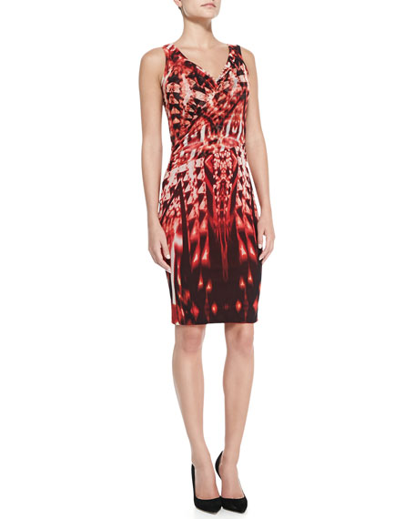 Sleeveless Ikat-Print Faux-Wrap Sheath Dress