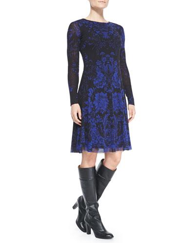 Fuzzi Long-Sleeve Floral Dress
