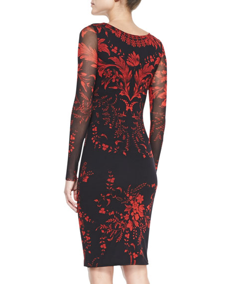 Long-Sleeve Floral V-Neck Sheath Dress
