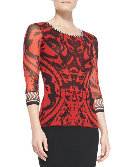 3/4-Sleeve Combo-Patterned Top