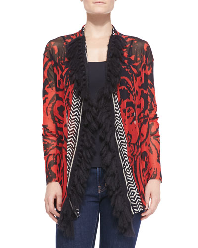 Fuzzi Open-Front Printed Cardigan with Fringe