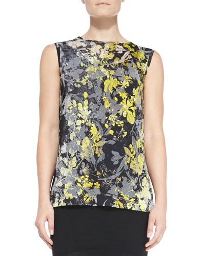 Fuzzi Sleeveless Floral-Print Tulle Top