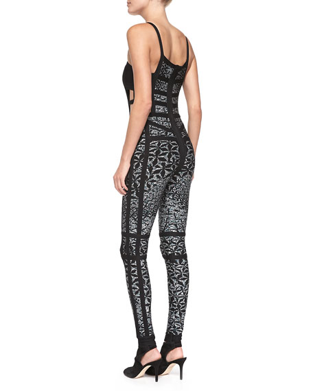 Yuna Heathered Sundial-Print Bandage Jumpsuit