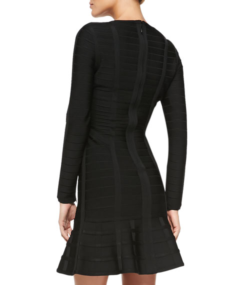 Barbara Novelty Long-Sleeve Bandage Dress