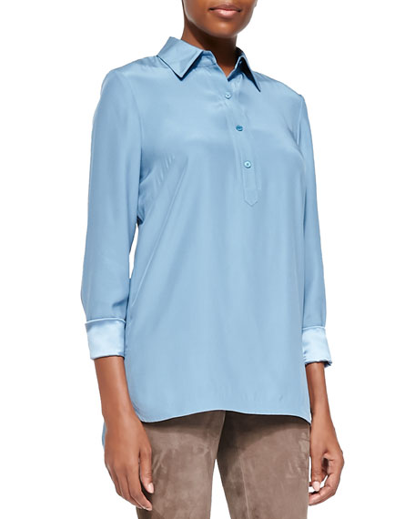 Frannie Long-Sleeve Button-Front Blouse