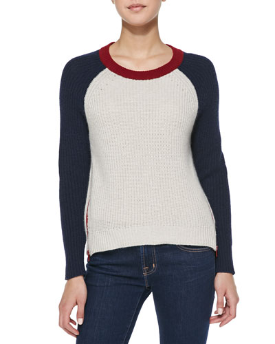 Autumn Cashmere Colorblock Zip-Hem Shaker Cashmere Sweater