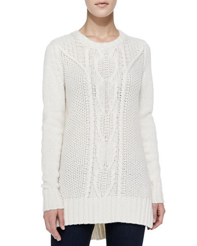 Autumn Cashmere Chunky/Cable Cashmere High-Low Sweater