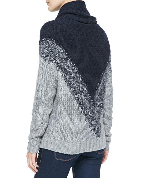 Autumn Cashmere Chevron-Pattern Cowl-Neck Cashmere Sweater