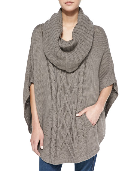 Knitting Pattern For Poncho With Cowl Neck : Autumn Cashmere Cable-Knit Cowl-Neck Cashmere Poncho