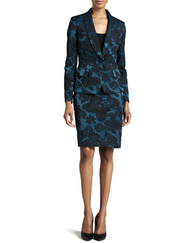 Albert Nipon One-Button Jacquard Jacket & Skirt Suit Set