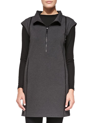 Lafayette 148 New York Cap-Sleeve Tunic with Faux-Leather Strips
