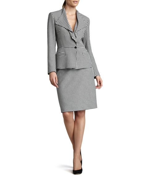 Houndstooth Drape-Collar Suit
