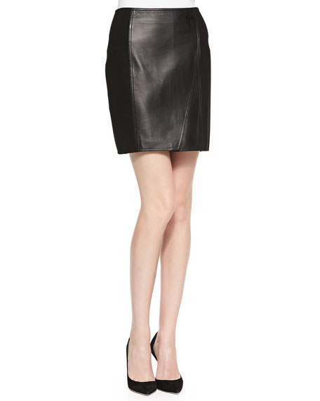 Lambskin Leather & Ponte Skirt