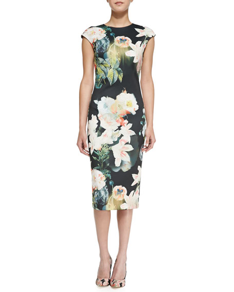 Opulent Bloom Floral-Print Midi Dress
