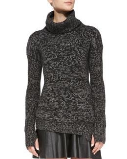 Pam & Gela Asymmetric Knit Turtleneck Sweater