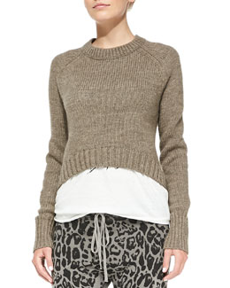 Pam & Gela Elbow-Patch Cropped Sweater