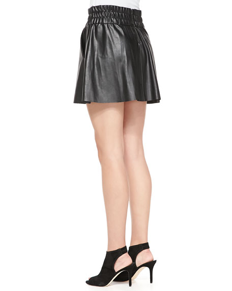 Smock-Waist Faux-Leather Skirt