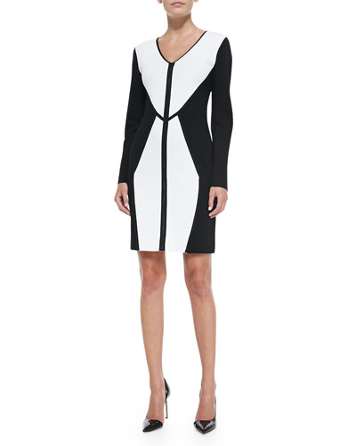 Carmen by Carmen Marc Valvo Full Milano Bicolor V-Neck Dress