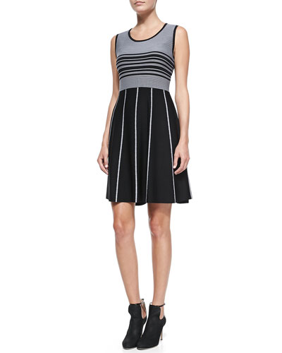 Carmen by Carmen Marc Valvo Sleeveless Striped Fit-and-Flare Jersey Dress