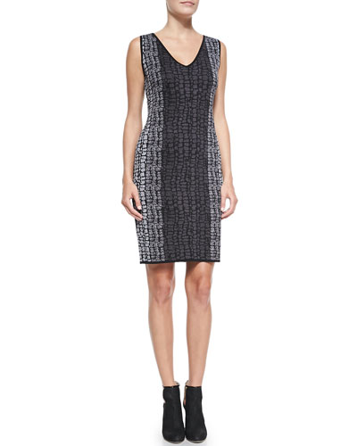 Carmen by Carmen Marc Valvo Sleeveless Birdseye Jacquard Dress