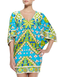 Trina Turk Woodblock Floral-Print Jersey Coverup