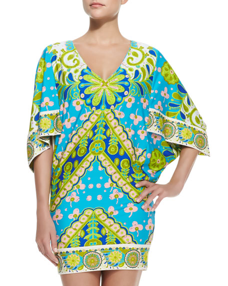 Woodblock Floral-Print Jersey Coverup
