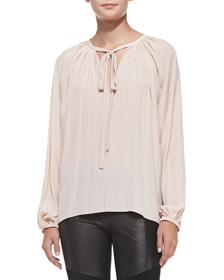 Paris Split-Neck Peasant Blouse