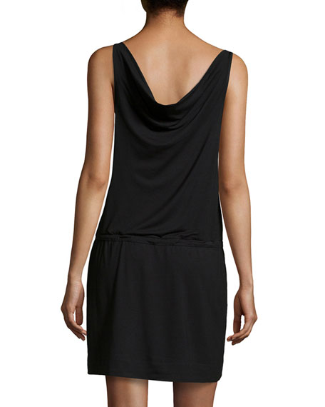 Cowl-Neck Drawstring Dress, Black