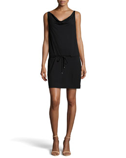 Diane Von Furstenberg Cowl-Neck Drawstring Dress, Black