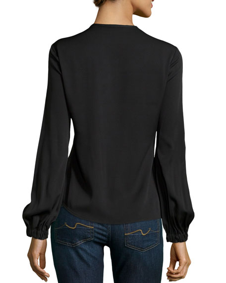 Crepe Tie-Neck Silk Top, Black