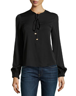Diane Von Furstenberg Crepe Tie-Neck Silk Top, Black