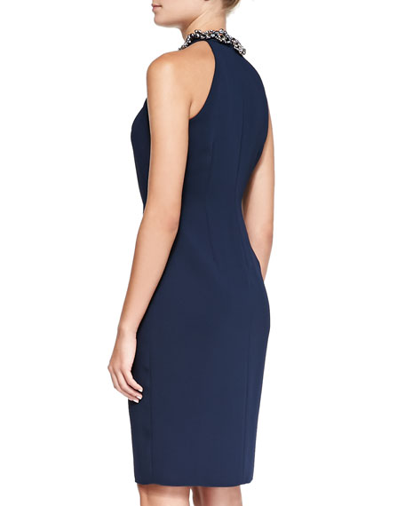 Halter Beaded-Neck Cocktail Dress, Navy