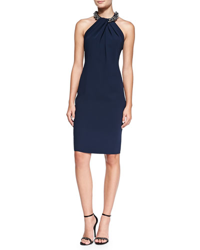 Carmen Marc Valvo Halter Beaded-Neck Cocktail Dress, Navy