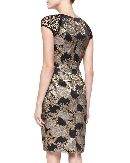 Cap-Sleeve Beaded Brocade Cocktail Dress