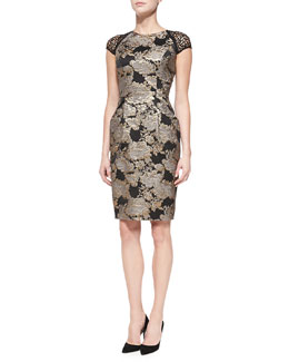 Carmen Marc Valvo Cap-Sleeve Beaded Brocade Cocktail Dress