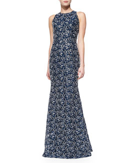 Carmen Marc Valvo Sleeveless Ribbon Lace Gown