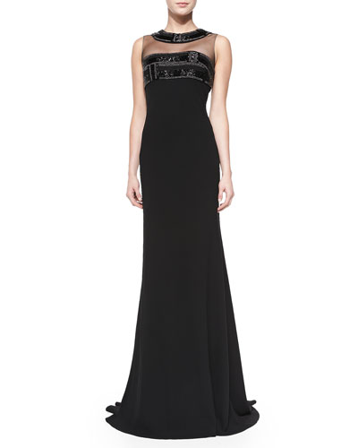 Carmen Marc Valvo Sleeveless Illusion-Neck Gown