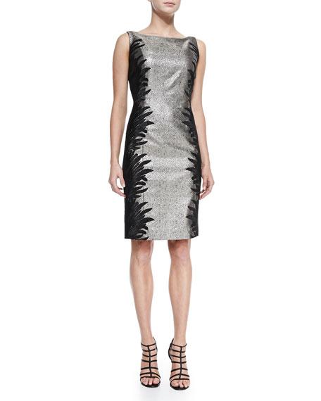 Carmen Marc Valvo Plus Sleeveless Two-Tone Cocktail Dress,