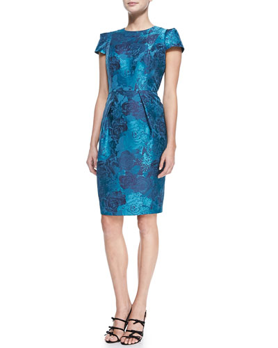 Short-Sleeve Floral Jacquard Cocktail Dress, Women's