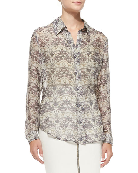 L'Agence Long-Sleeve Lotus Flower-Print Blouse