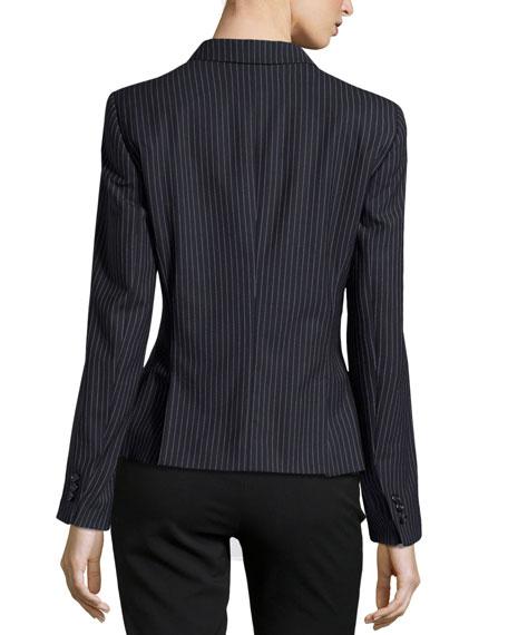 Beya Pinstripe Two-Button Blazer, Navy
