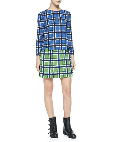 MARC by Marc Jacobs Toto Long-Sleeve Two-Tone Plaid Crepe Dress