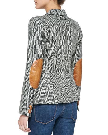 Duchess Tweed Elbow-Patch Blazer