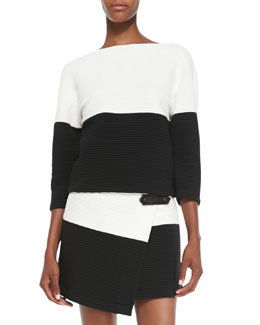 Alice + Olivia Dory Knit Two-Tone Drop-Shoulder Top