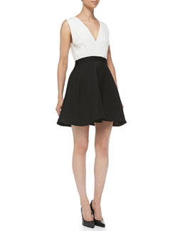 Alice + Olivia Tobin Two-Tone Sleeveless Combo Dress